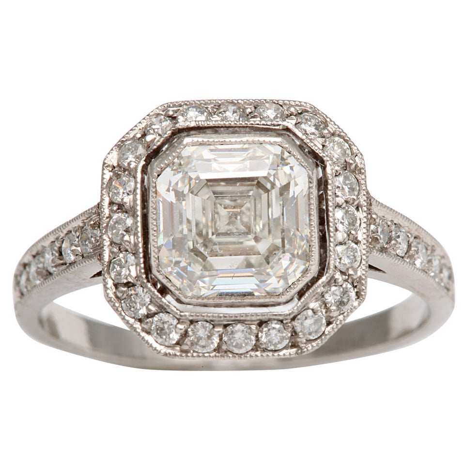 deco asscher cut engagement ring at 1stdibs