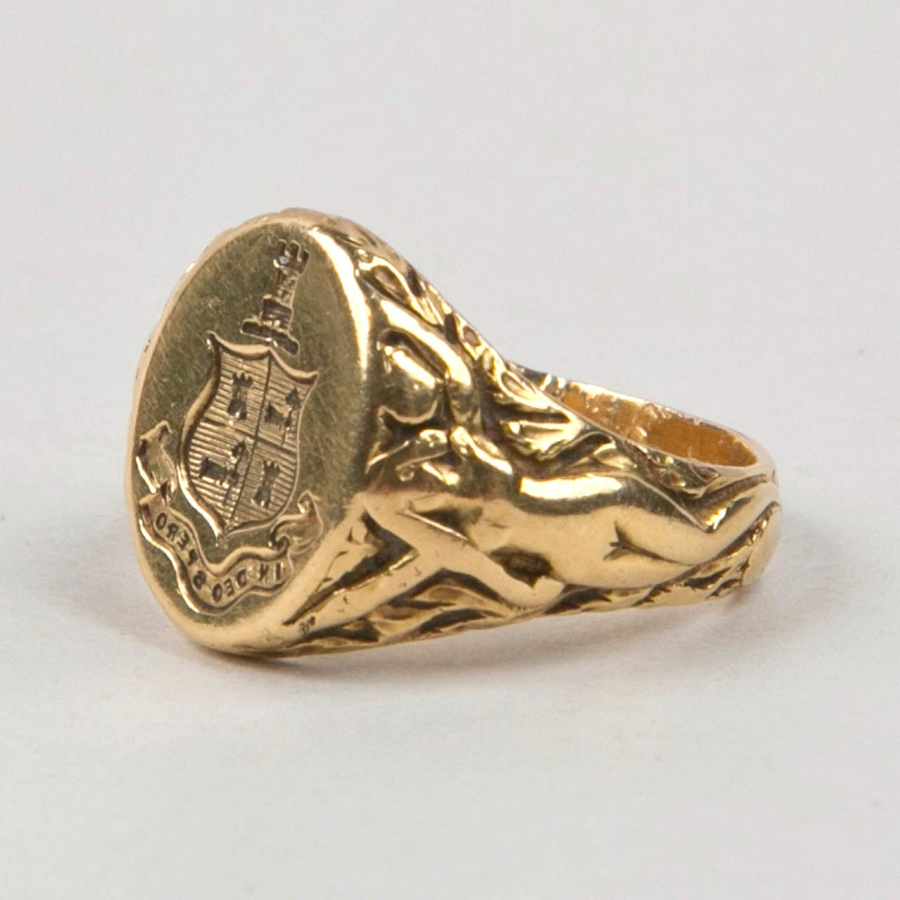 co antique gold signet ring image 6