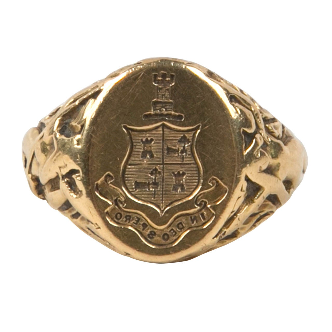 co antique gold signet ring