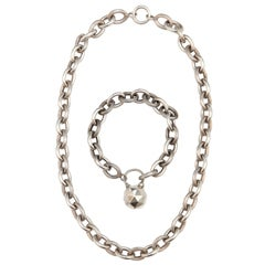 French Sterling Silver Link Necklace and Bracelet Demi-Parure