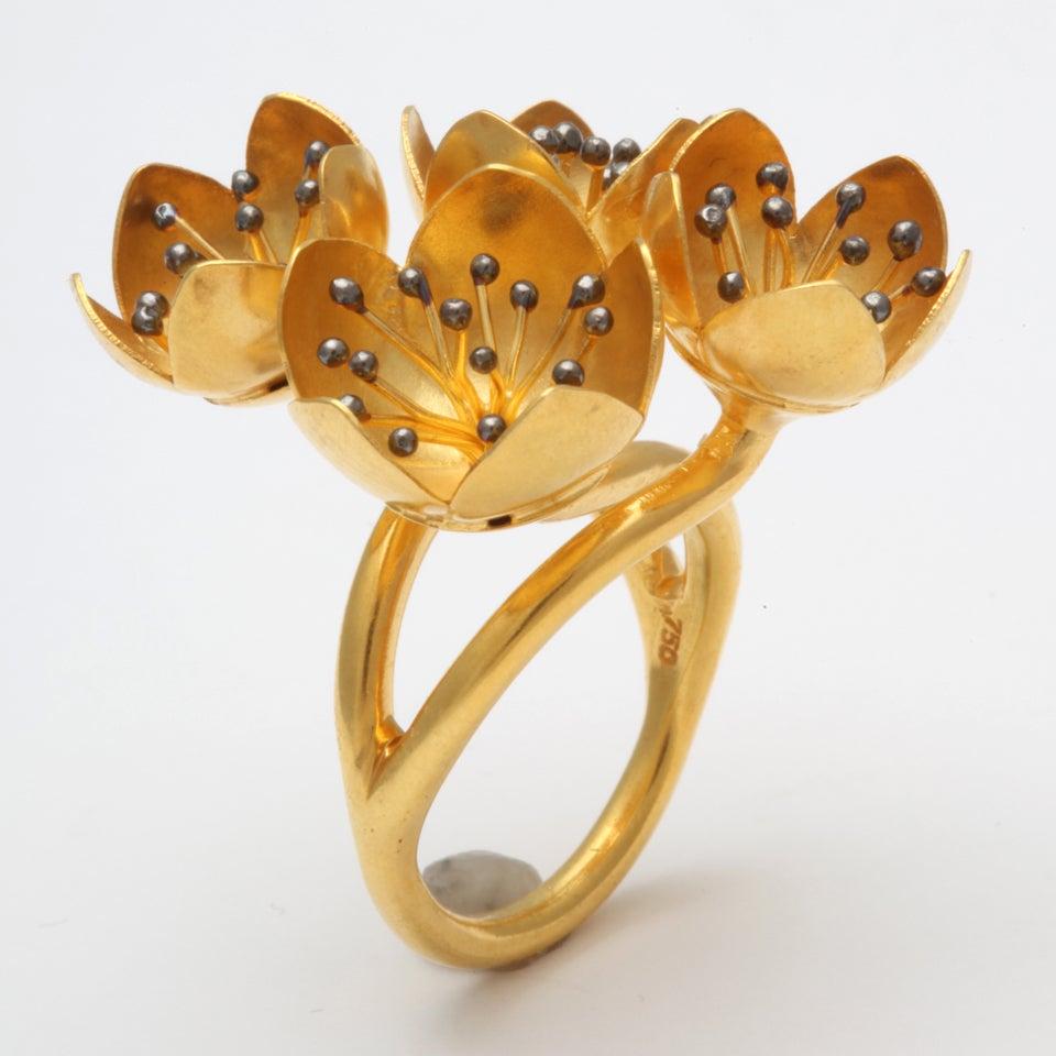 Gold Buttercup Flower Ring 2