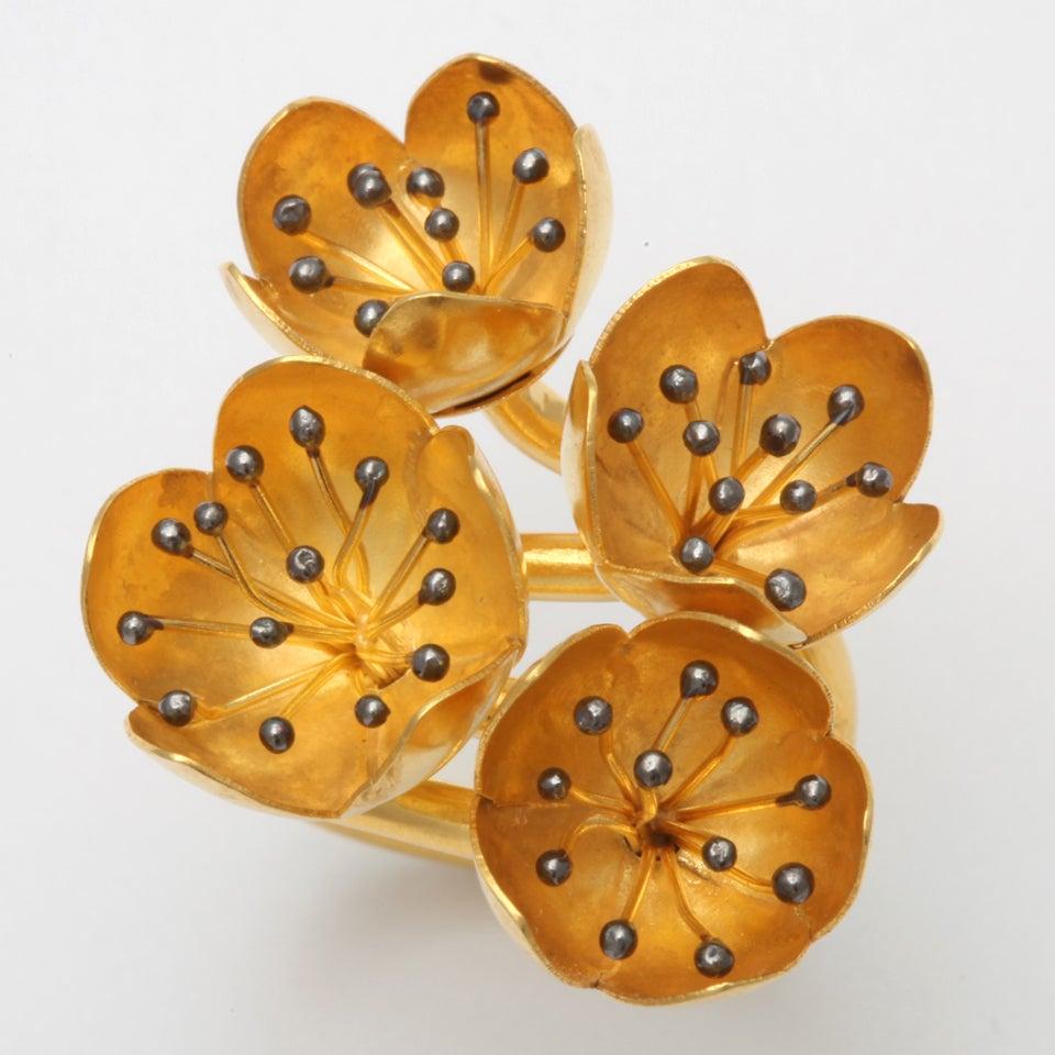 Gold Buttercup Flower Ring 3