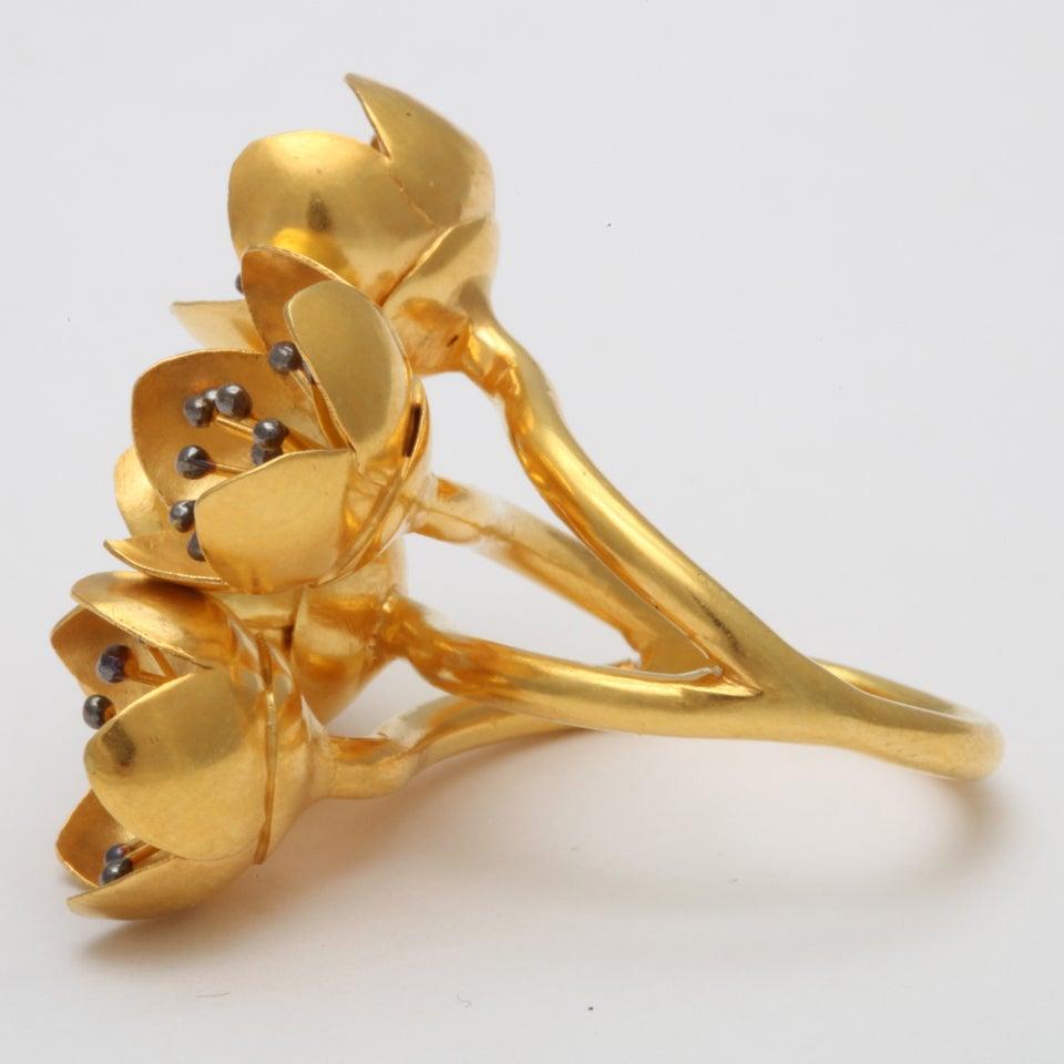 Gold Buttercup Flower Ring 4