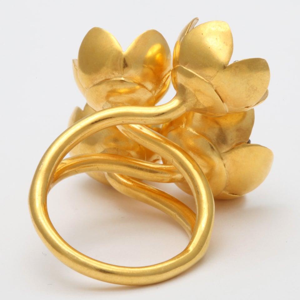 Gold Buttercup Flower Ring 5