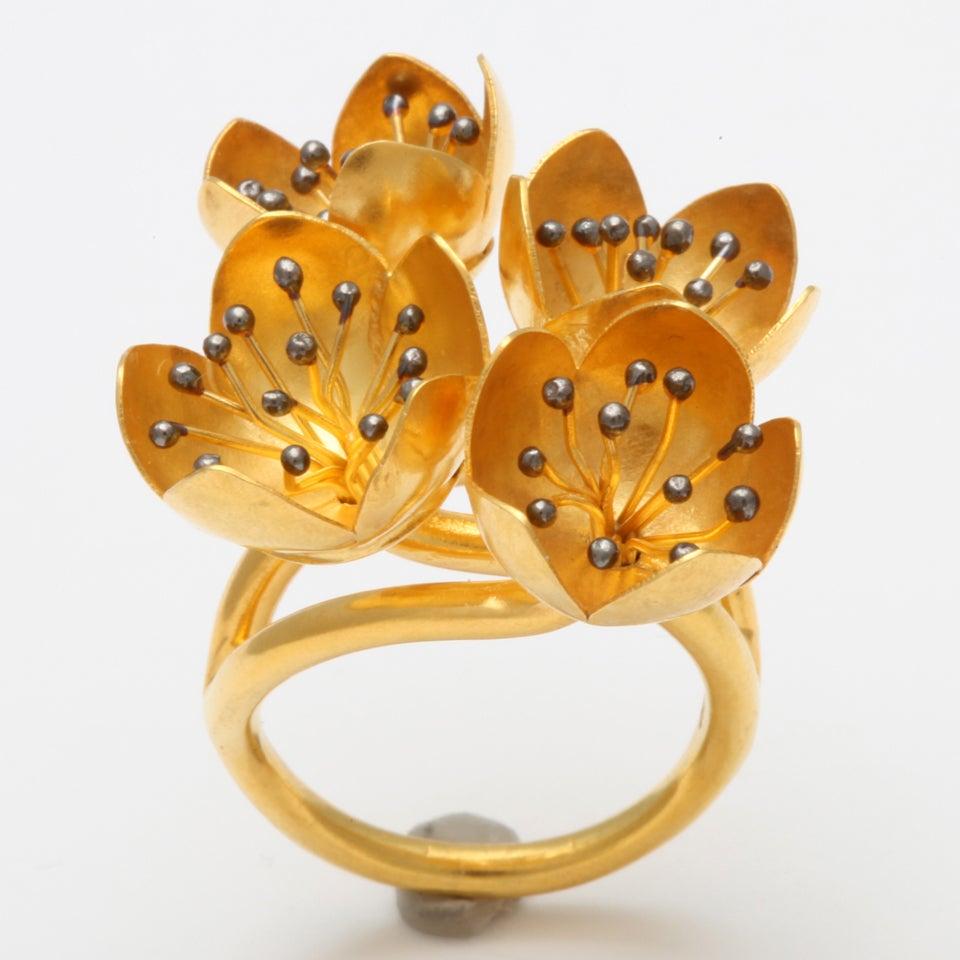 Gold Buttercup Flower Ring 6