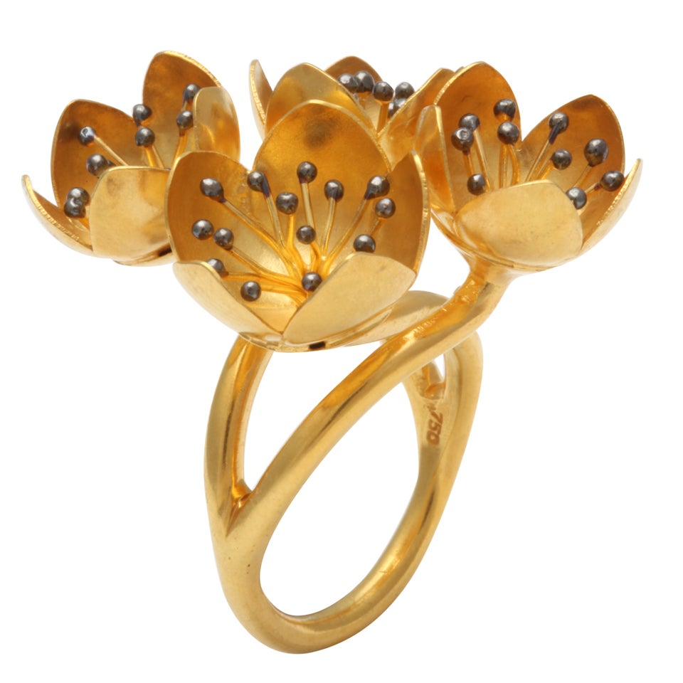 Gold Buttercup Flower Ring