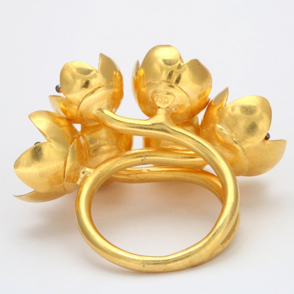 Women's Gold Buttercup Flower Ring For Sale