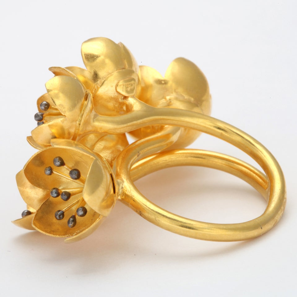 Gold Buttercup Flower Ring For Sale 1