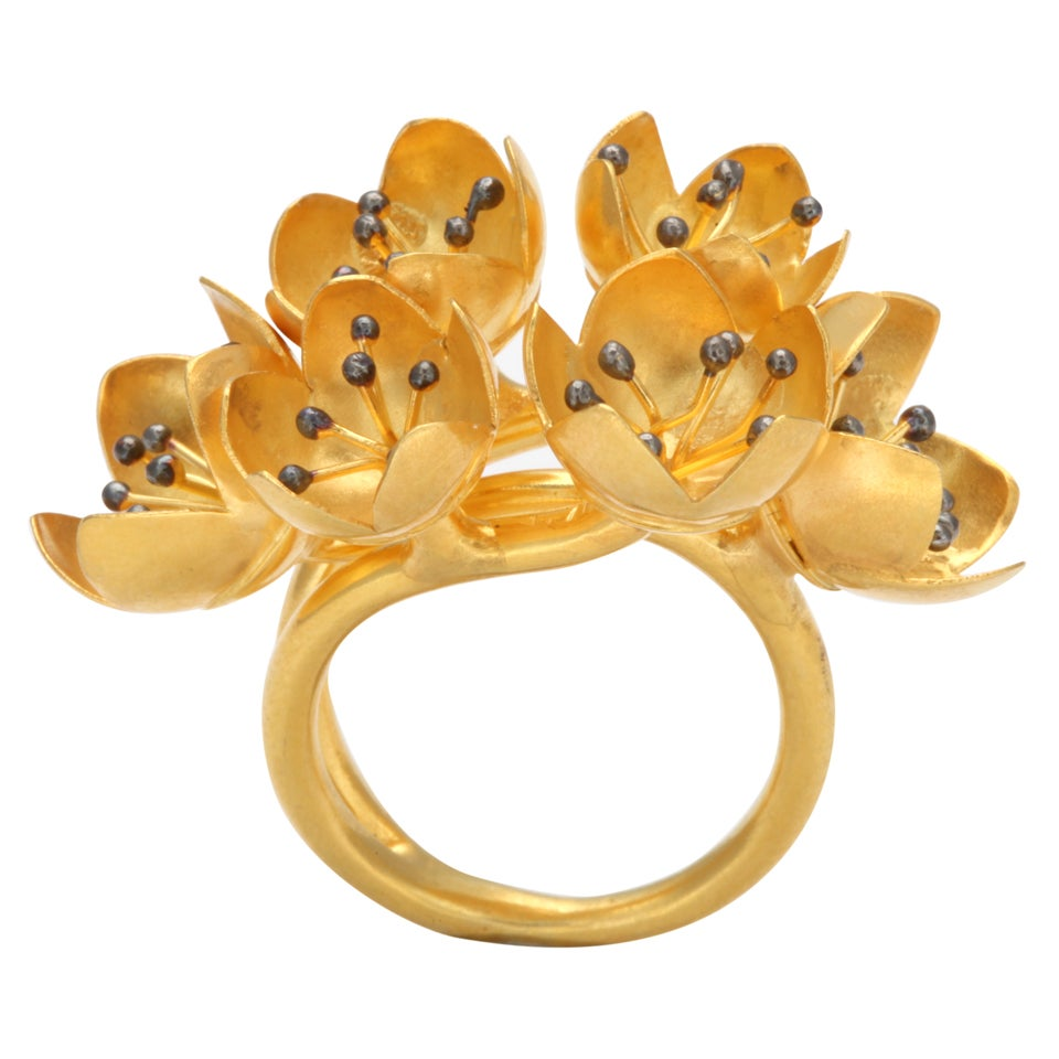 Gold Buttercup Flower Ring For Sale