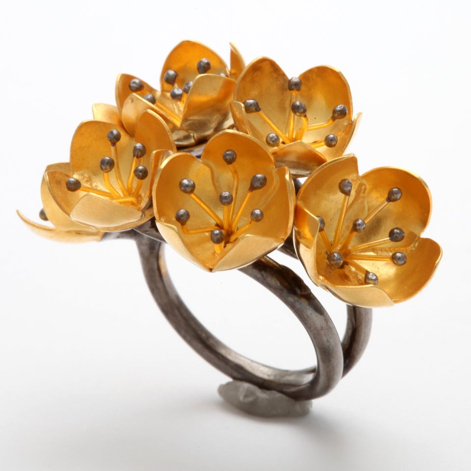 Contemporary Buttercup Flower Ring For Sale