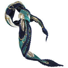 "Hermes ""Brides Legeres"" Plisse Silk Scarf"