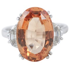 8.00 Carat Natural Brazilian Topaz Diamond Cocktail Ring
