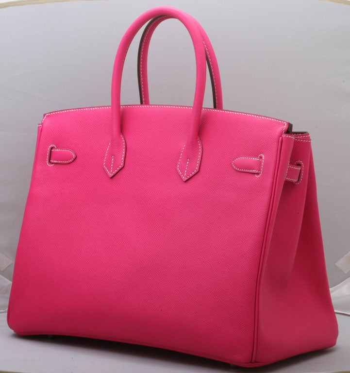 HERMES Birkin Rose Tyrien 35cm In Excellent Condition For Sale In New York, NY