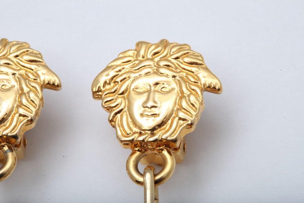 Women's Gianni Versace Medusa Black/Gold Earrings For Sale