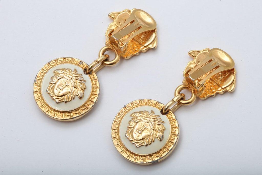 Gianni Versace Medusa Black/Gold Earrings For Sale 1