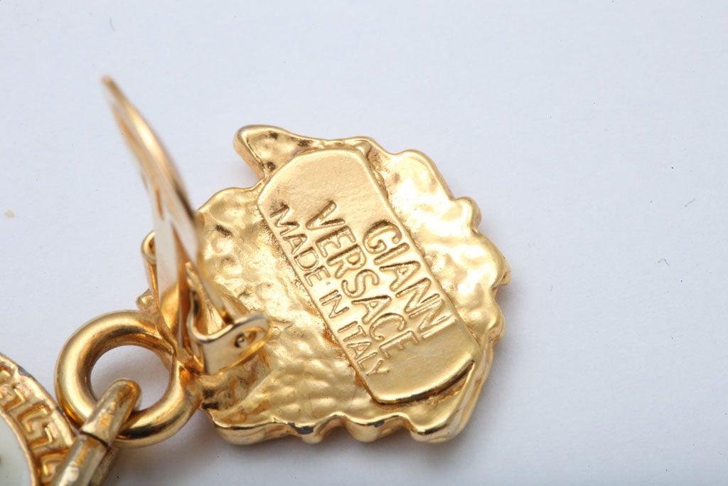 Gianni Versace Medusa Black/Gold Earrings For Sale 2