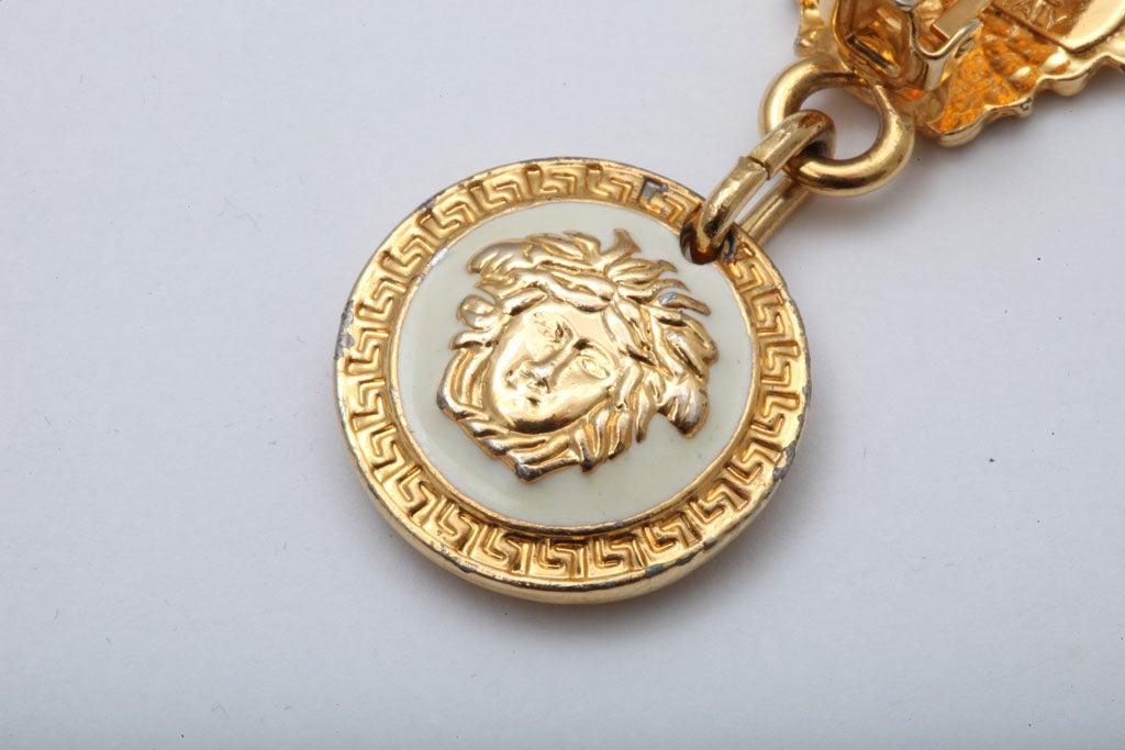 Gianni Versace Medusa Black/Gold Earrings For Sale 3