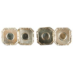 Pair of Art Deco Gold Cufflinks with Engine Turned Design