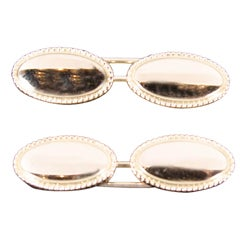 Pair of Art Deco Gold Oval Cufflinks with Rope Detail