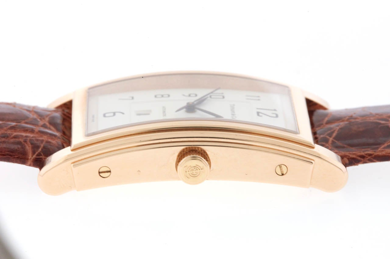 Tiffany & Co Rose Gold Grand Automatic Rectangular Wristwatch with Date In Excellent Condition In New York, NY
