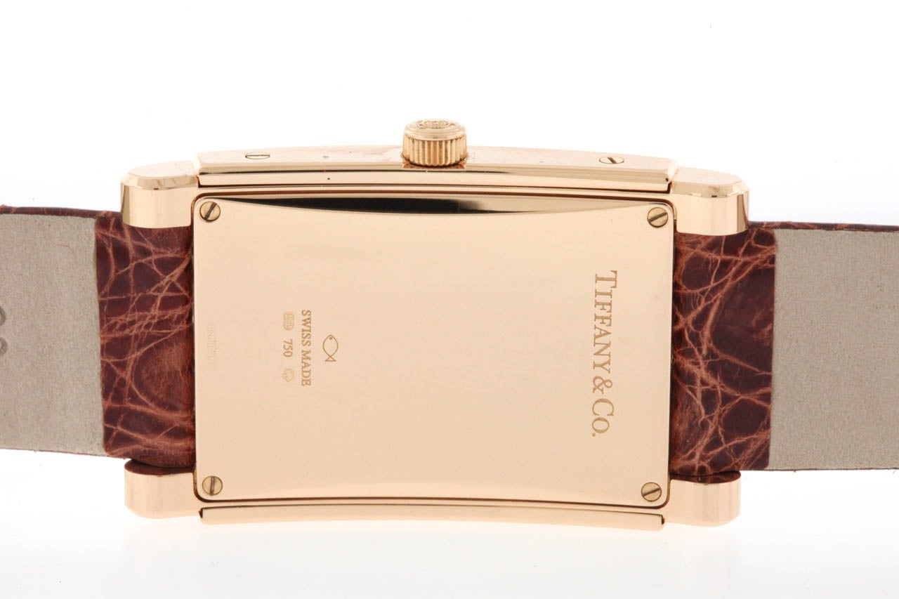 Women's or Men's Tiffany & Co Rose Gold Grand Automatic Rectangular Wristwatch with Date
