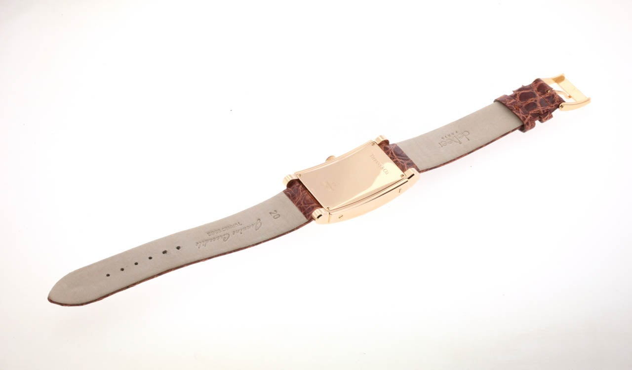 Tiffany & Co Rose Gold Grand Automatic Rectangular Wristwatch with Date 2