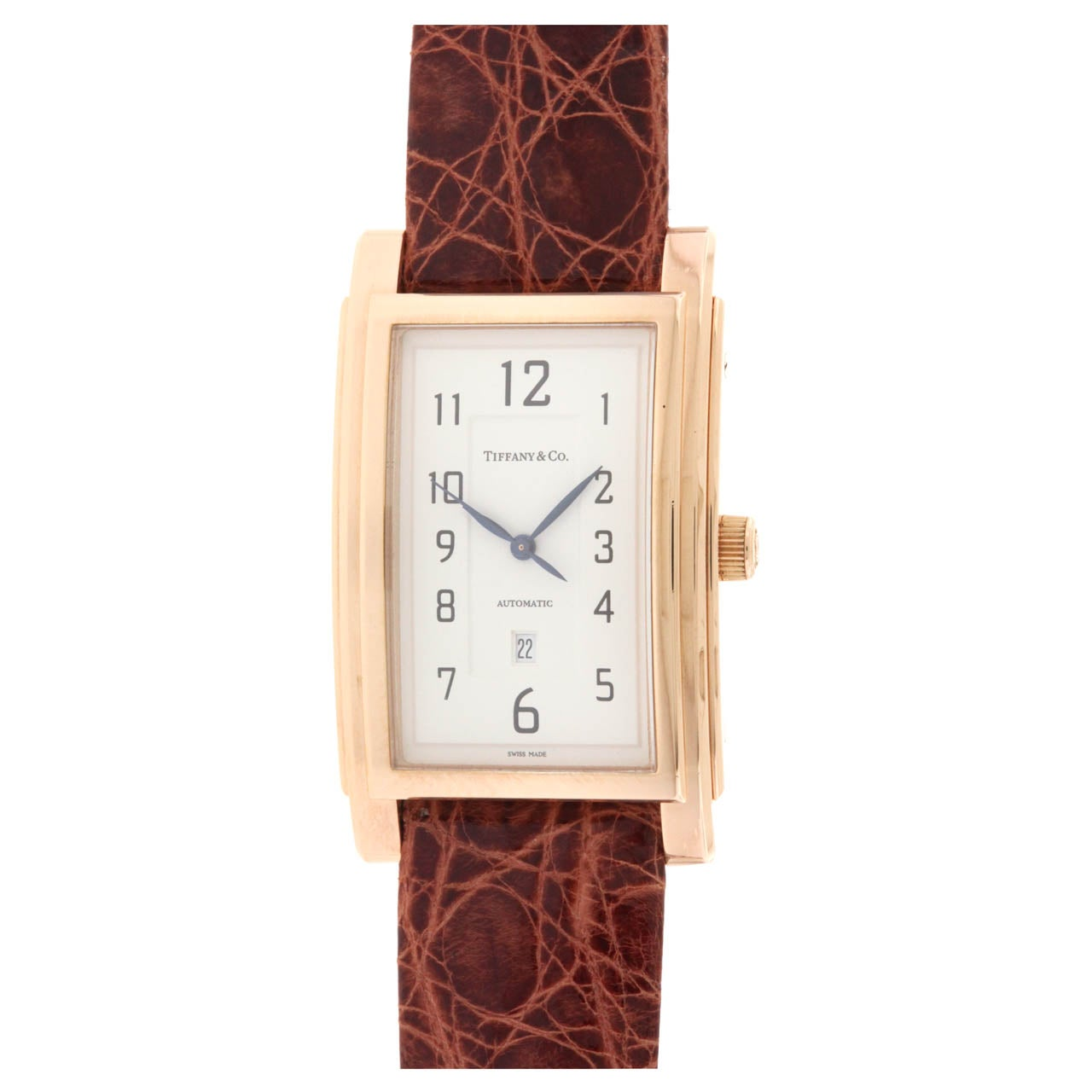 Tiffany & Co Rose Gold Grand Automatic Rectangular Wristwatch with Date