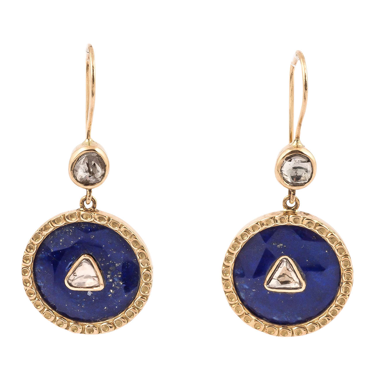 Lapis Triangle Polki Diamond Earrings