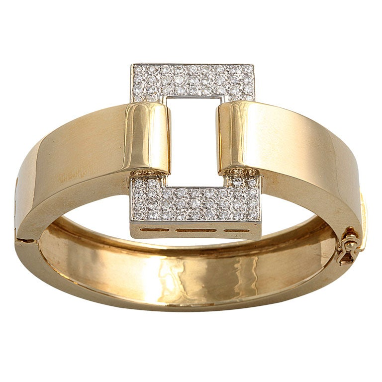 Great 1970s Geometric Bangle with Pave Diamond Rectangle For Sale