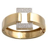 Great 1970s Geometric Bangle with Pave Diamond Rectangle
