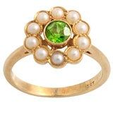 Victorian Demantoid Garnet and Pearl Ring