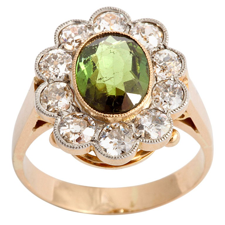 Victorian Chrysoberyl and Diamond Cluster Ring