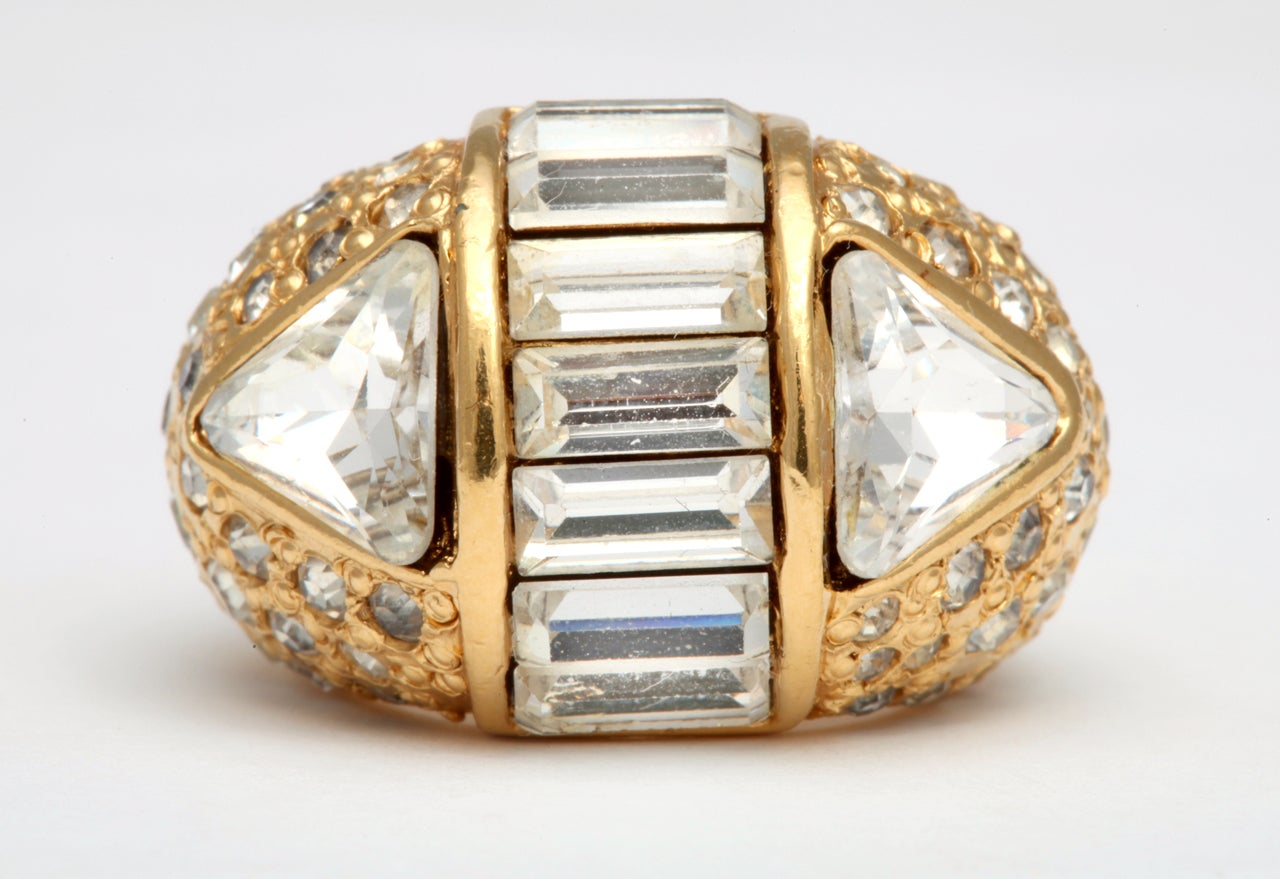 gianni versace ring with rhinestones at 1stdibs