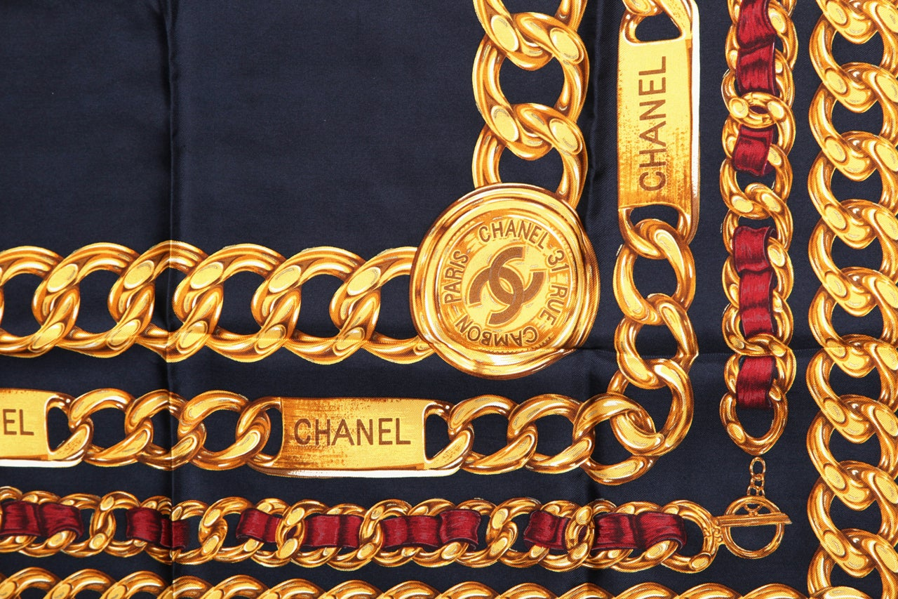 CHANEL ICONIC CHAIN MOTIF SCARF NAVY 4