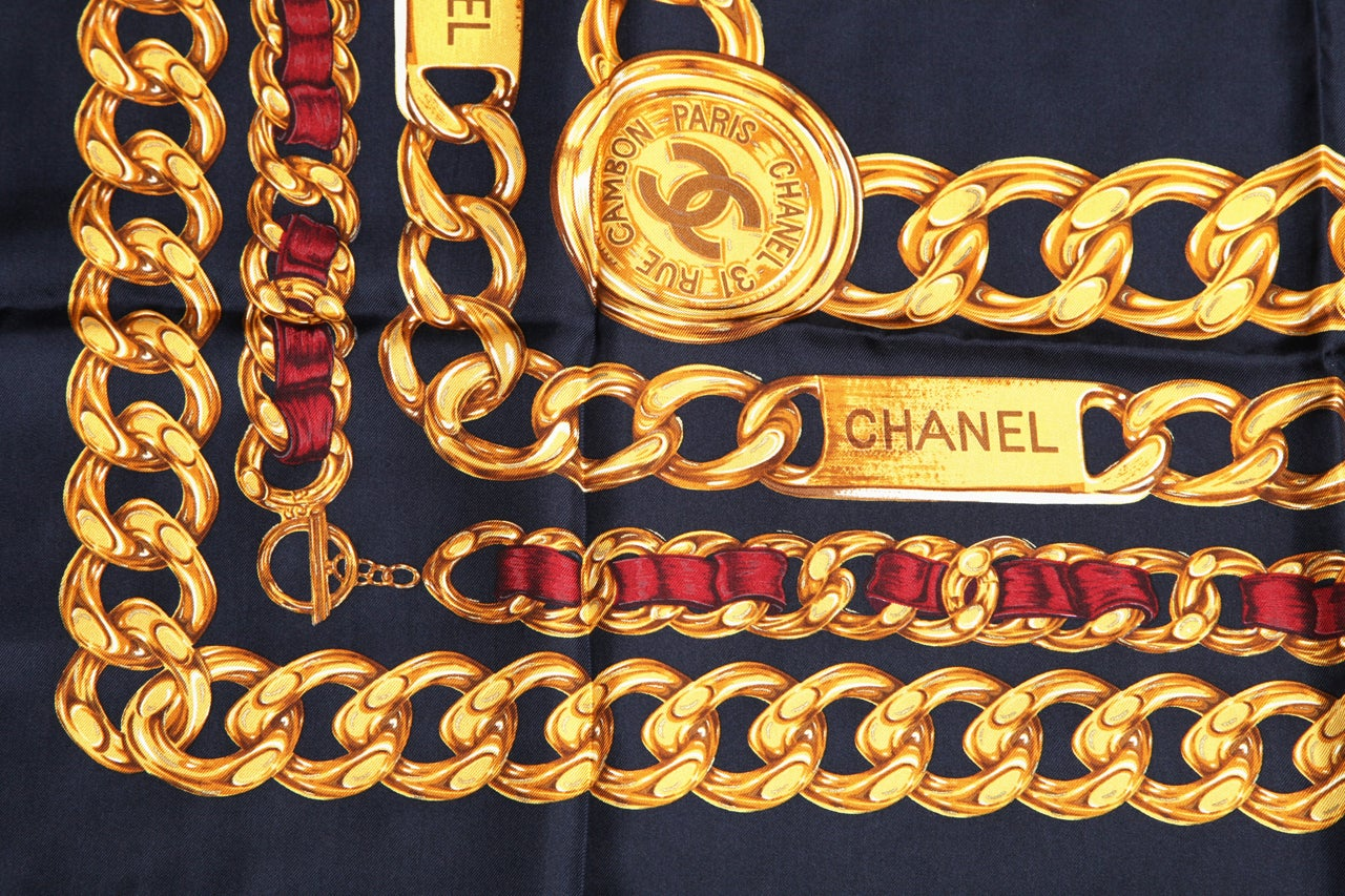CHANEL ICONIC CHAIN MOTIF SCARF NAVY 5