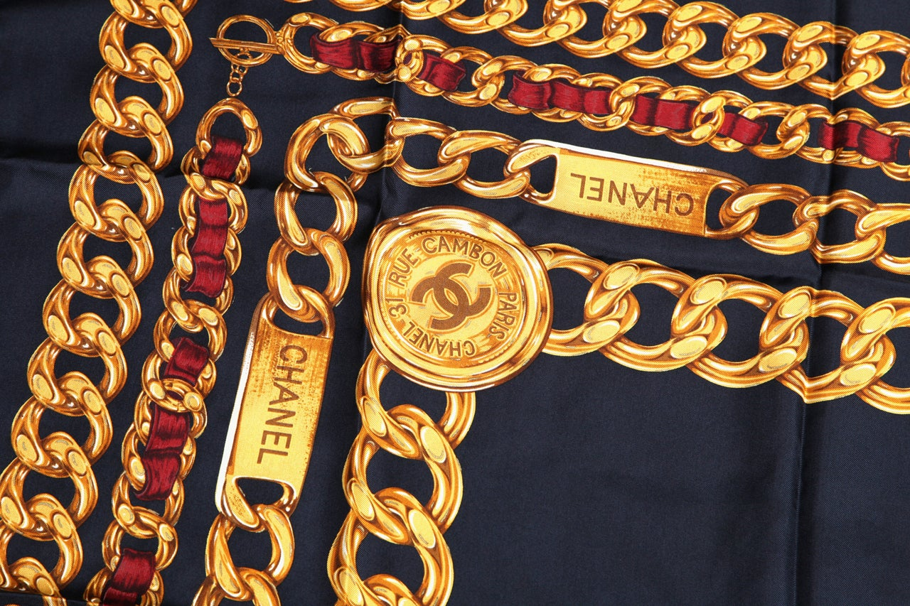 CHANEL ICONIC CHAIN MOTIF SCARF NAVY 6