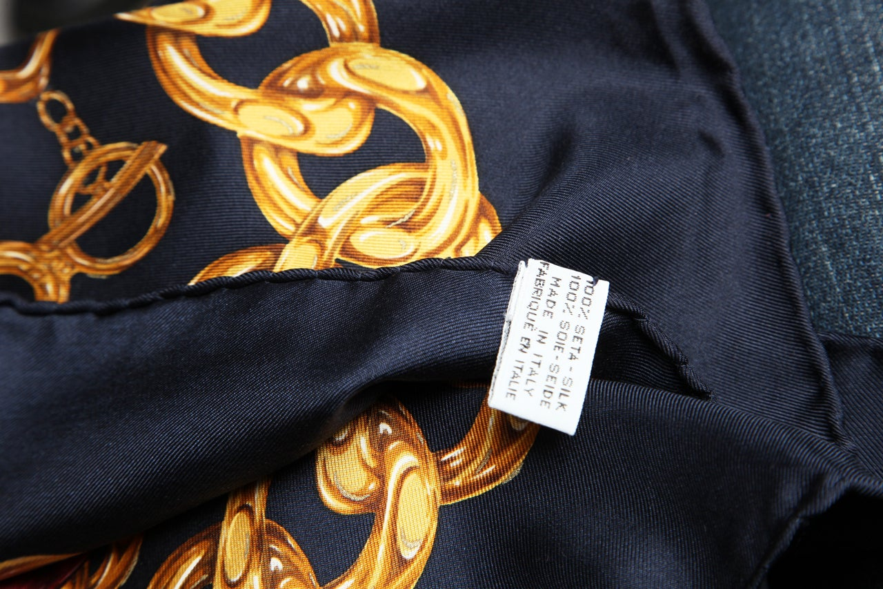 CHANEL ICONIC CHAIN MOTIF SCARF NAVY 8