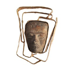 Mid-Century 14K Gold  Brooch With Pre-Columbian Artifact