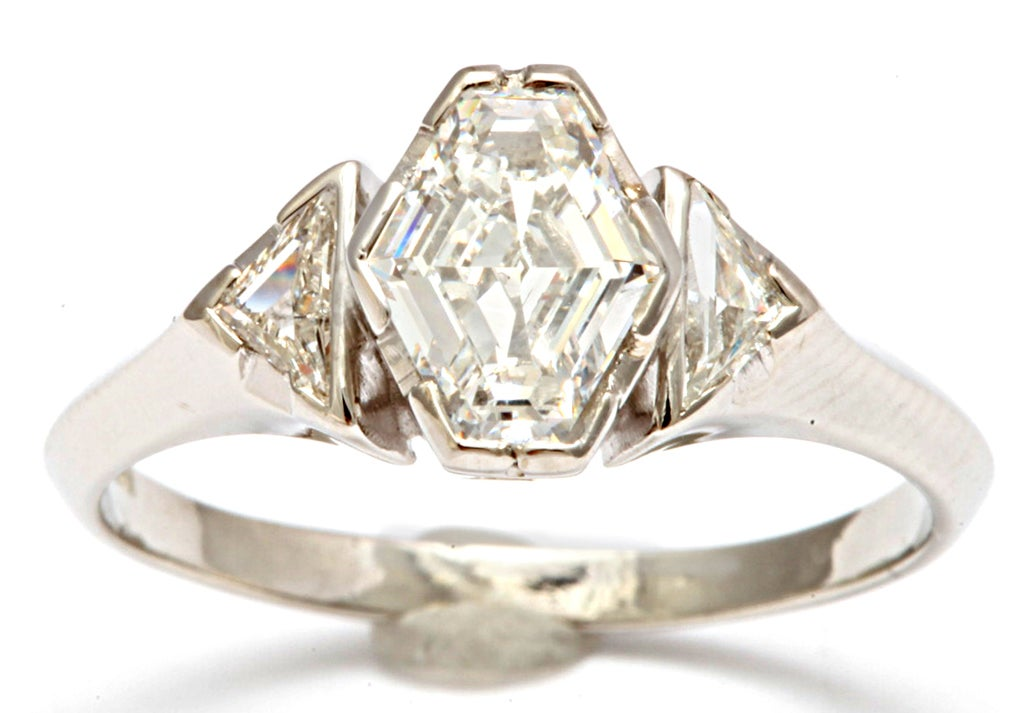 Hexagonal diamond engagement ring at 1stdibs for Do jewelry stores finance engagement rings