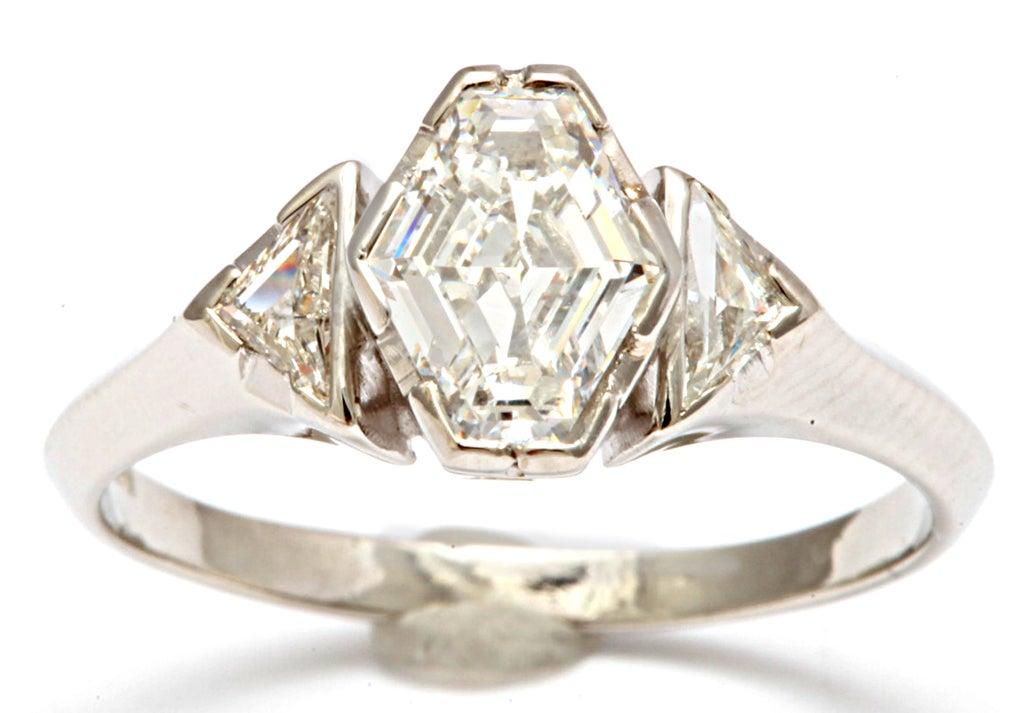 Hexagonal Diamond Engagement Ring 2