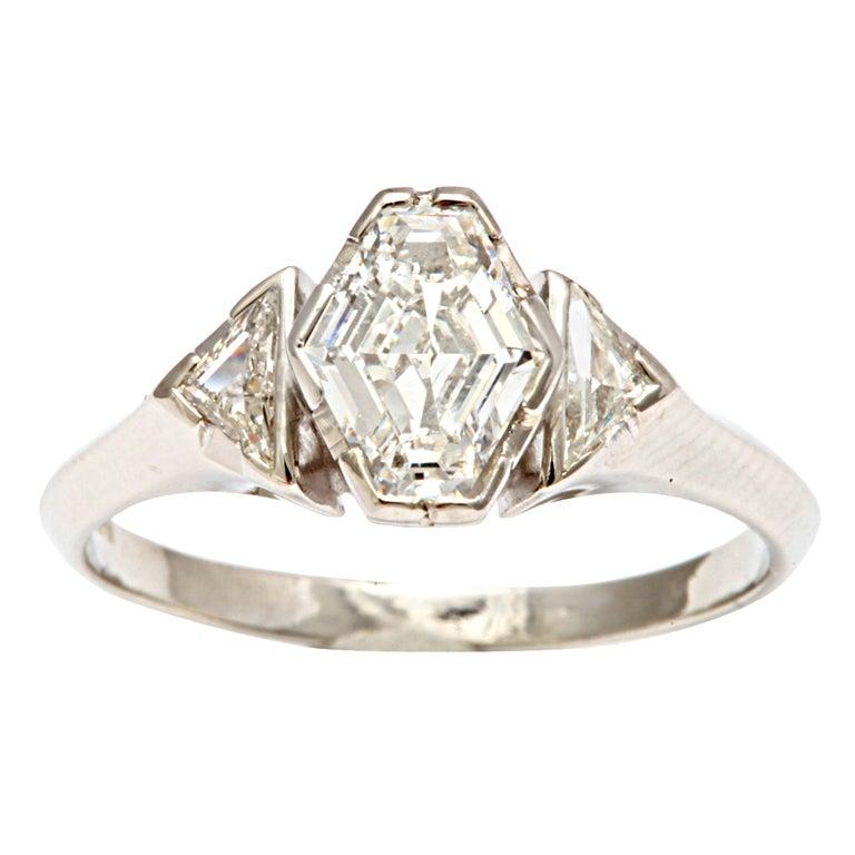 Hexagonal Diamond Engagement Ring 1