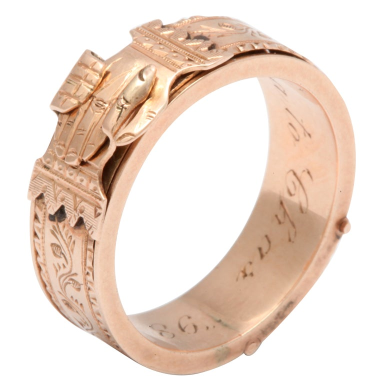 Engraved Fede Locket Ring Joined Hands At 1stdibs