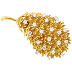 Diamond Gold Leaf Brooch