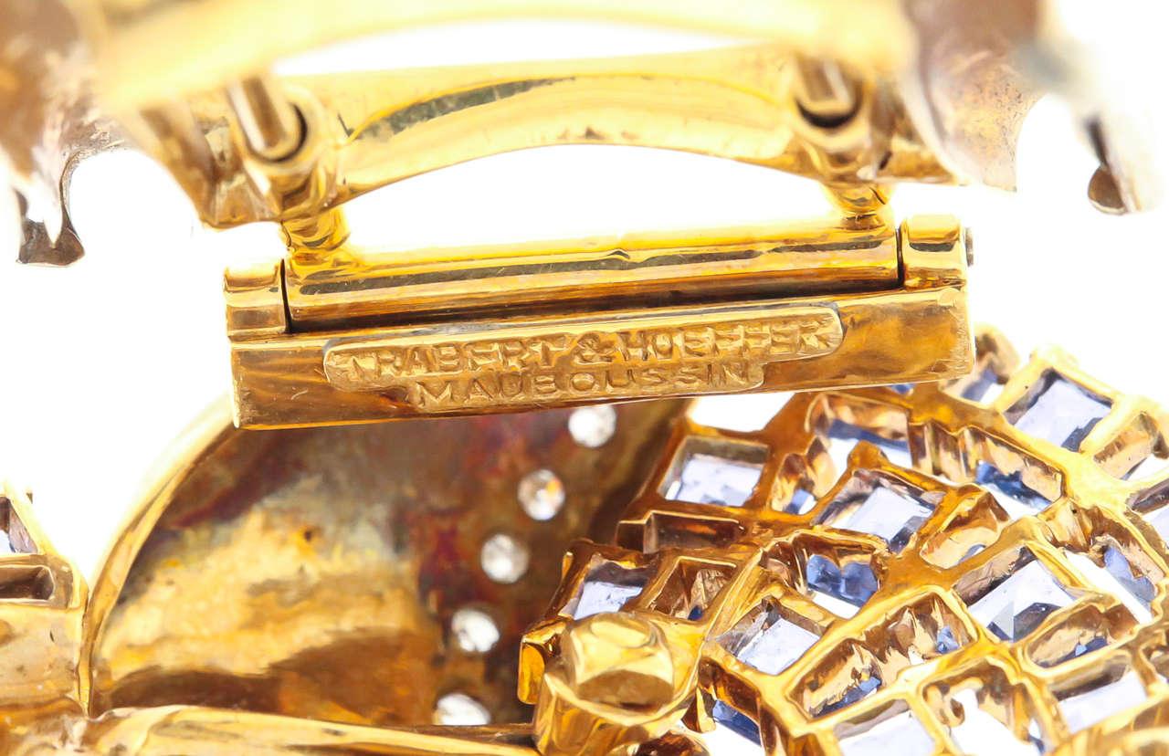 Mauboussin Retro Reflection Sapphire Diamond Gold Clip Brooch For Sale 1