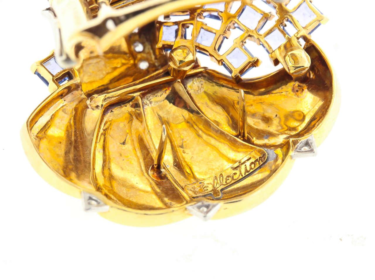 Mauboussin Retro Reflection Sapphire Diamond Gold Clip Brooch For Sale 2