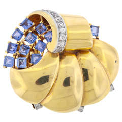 Mauboussin Retro Reflection Sapphire Diamond Gold Clip Brooch