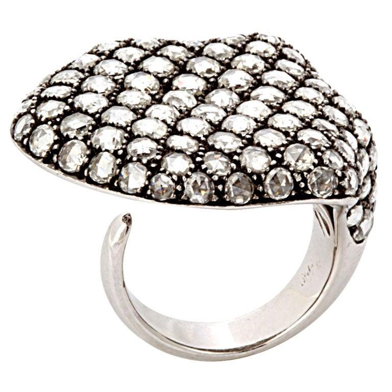Rose Cut Diamond White Gold Shield Ring