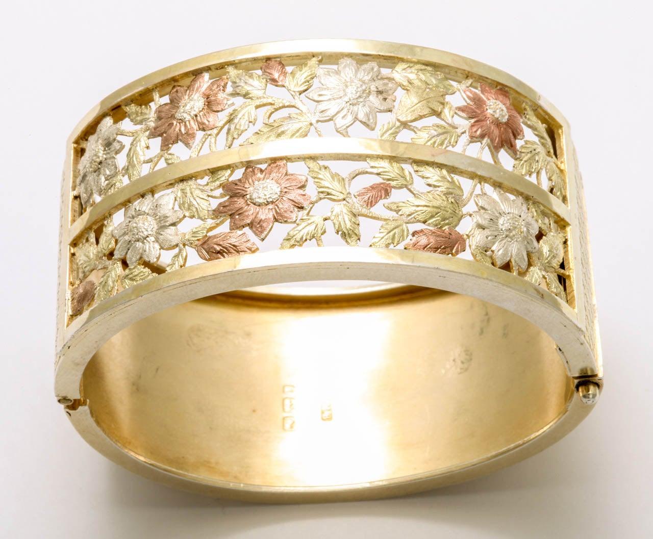 Women's Antique Victorian Silver Gilt Bangle Bracelet For Sale