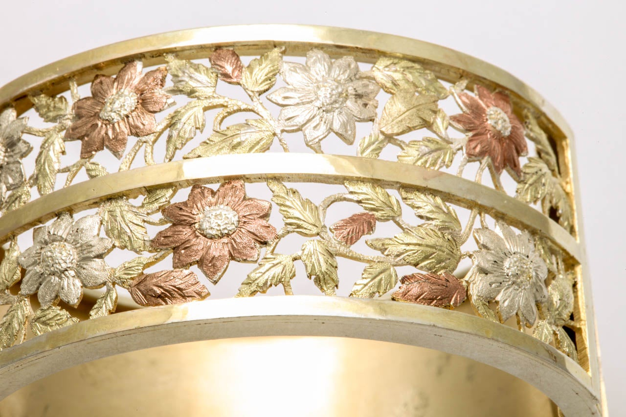 Antique Victorian Silver Gilt Bangle Bracelet In Excellent Condition For Sale In Stamford, CT
