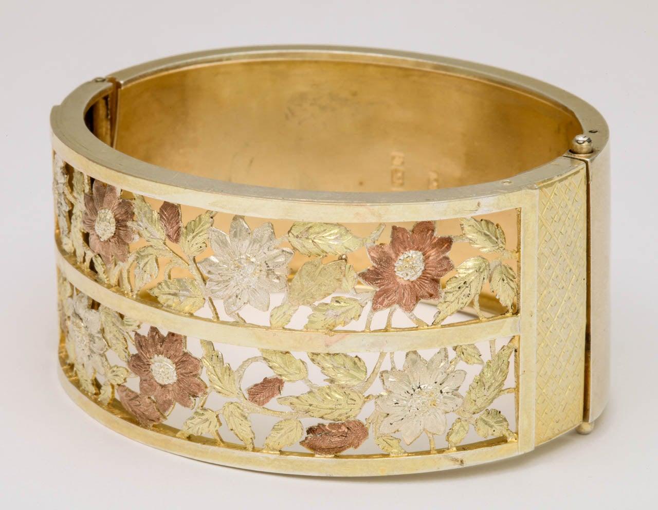 Antique Victorian Silver Gilt Bangle Bracelet For Sale 3